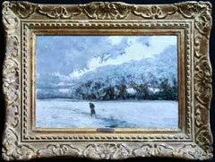 La Neige, Early 20th Century Oil, Figure in Winter Landscape