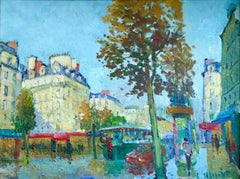 Les Grands Boulevards - 20th Century Oil, Figures in Cityscape by C Kluge