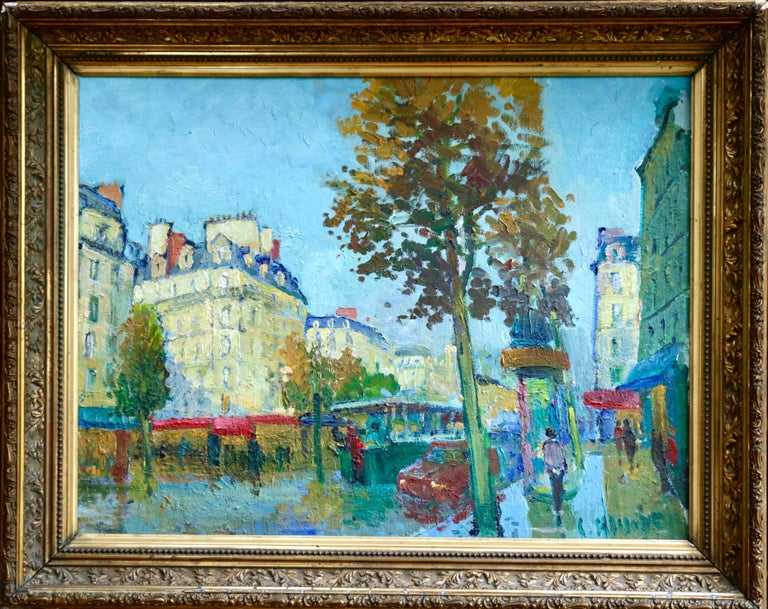 Les Grands Boulevards - 20th Century Oil, Figures in Cityscape by C Kluge - Painting by Constantin Kluge