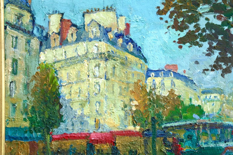 Les Grands Boulevards - 20th Century Oil, Figures in Cityscape by C Kluge - Post-Impressionist Painting by Constantin Kluge