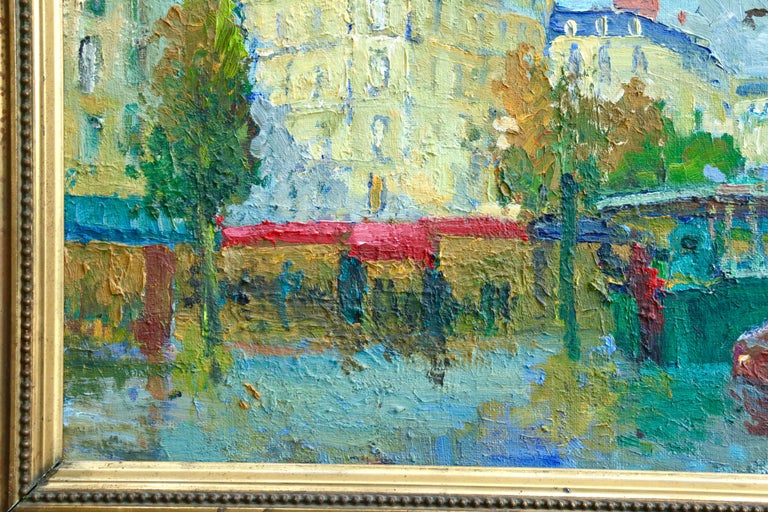 Les Grands Boulevards - 20th Century Oil, Figures in Cityscape by C Kluge - Gray Landscape Painting by Constantin Kluge