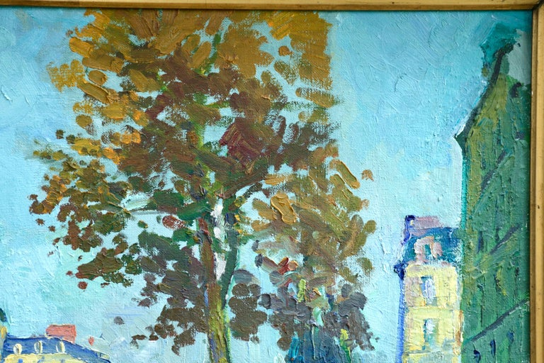 Les Grands Boulevards - 20th Century Oil, Figures in Cityscape by C Kluge For Sale 1