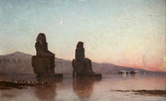 Colossi of Memnon, The Nile - Evening - 19th Century Oil, Landscape by Berchere