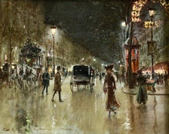 Paris-Grands Boulevards-Moonlight - 19th Century Figures in Cityscape by G Stein