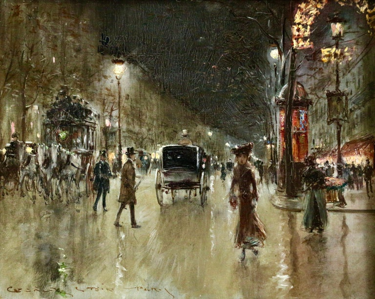Georges Stein Figurative Painting - Paris-Grands Boulevards-Moonlight - 19th Century Figures in Cityscape by G Stein