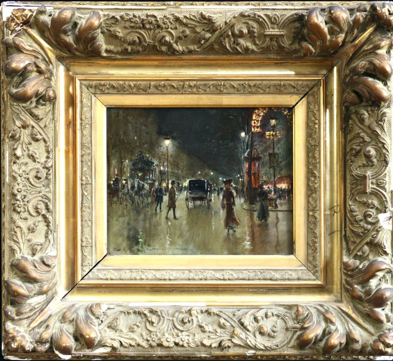Paris-Grands Boulevards-Moonlight - 19th Century Figures in Cityscape by G Stein - Painting by Georges Stein
