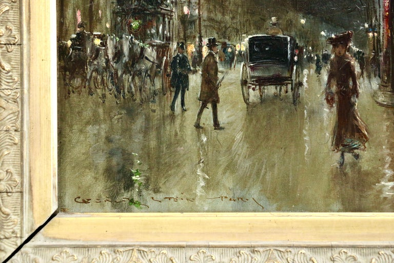Paris-Grands Boulevards-Moonlight - 19th Century Figures in Cityscape by G Stein - Impressionist Painting by Georges Stein