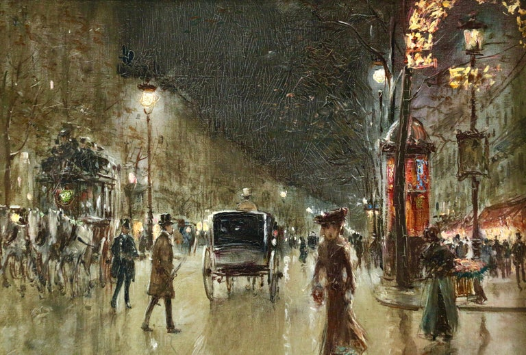 Paris-Grands Boulevards-Moonlight - 19th Century Figures in Cityscape by G Stein - Brown Figurative Painting by Georges Stein
