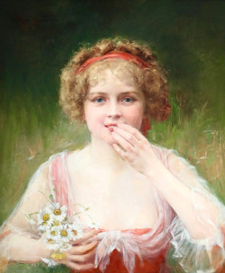 James Carroll Beckwith Portrait Painting - Surprised! - 19th Century Oil, Portrait of Young Girl & Flowers by J C Beckwith
