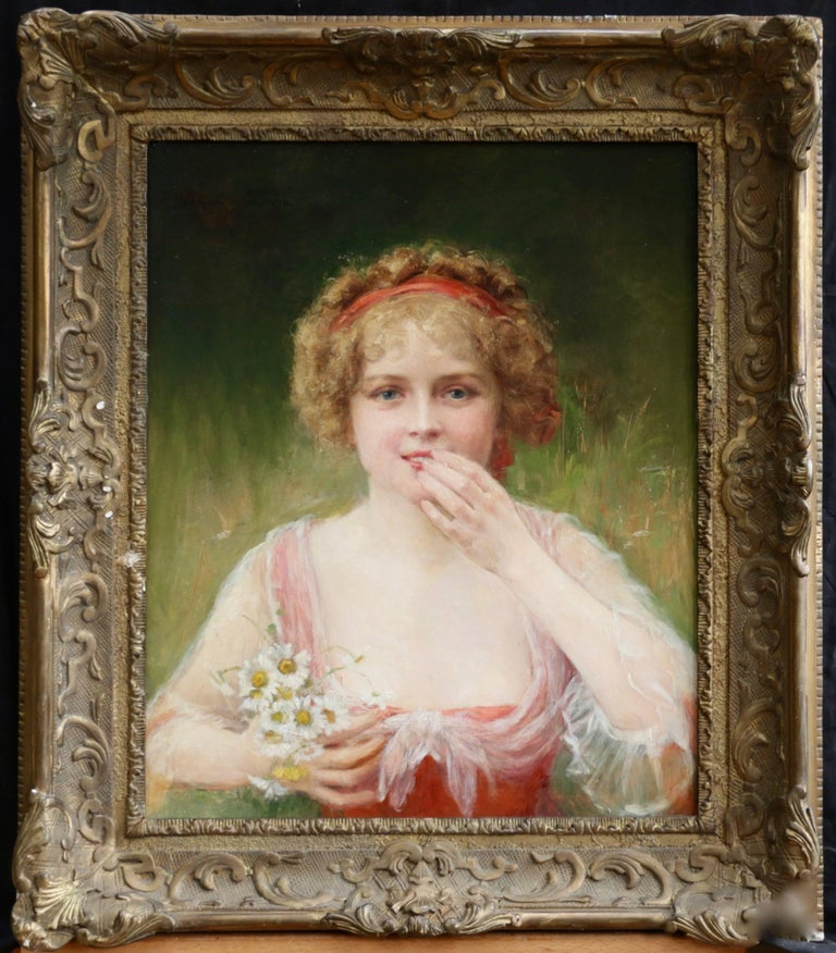 Surprised! - 19th Century Oil, Portrait of Young Girl & Flowers by J C Beckwith - Painting by James Carroll Beckwith