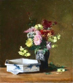 Flowers & Chinese Bowl - 19th Century Oil, Still Life by Victoria Fantin-Latour