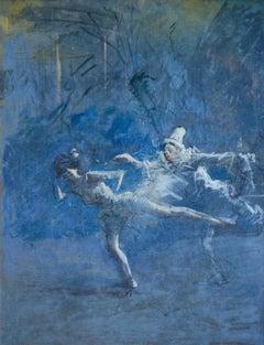 Pierrot et la Danseuse - 19th Century Oil, Figures/Dancers in Blue by J L Forain