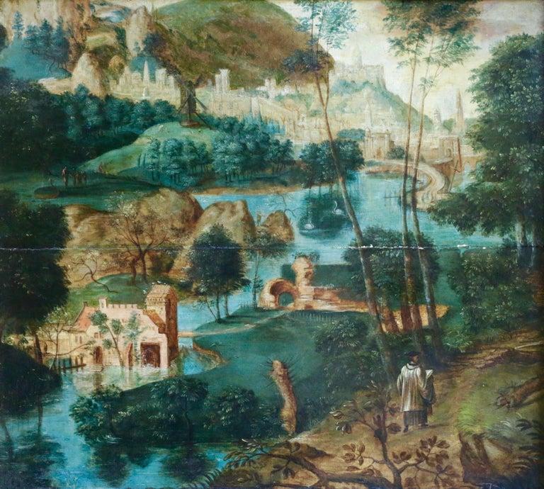 Unknown Landscape Painting - Pilgrims Journey - Figure in Landscape, 16th Century Netherlandish Old Master