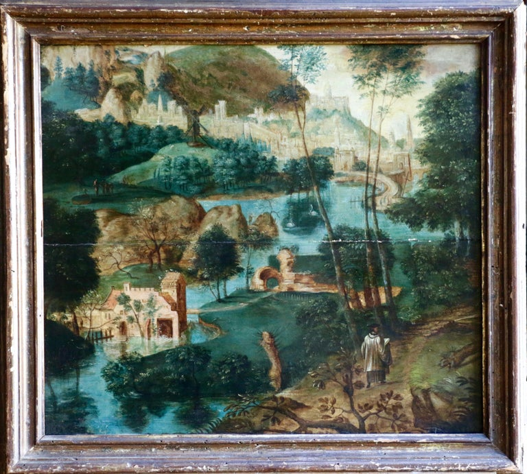 Pilgrims Journey - Figure in Landscape, 16th Century Netherlandish Old Master - Painting by Unknown