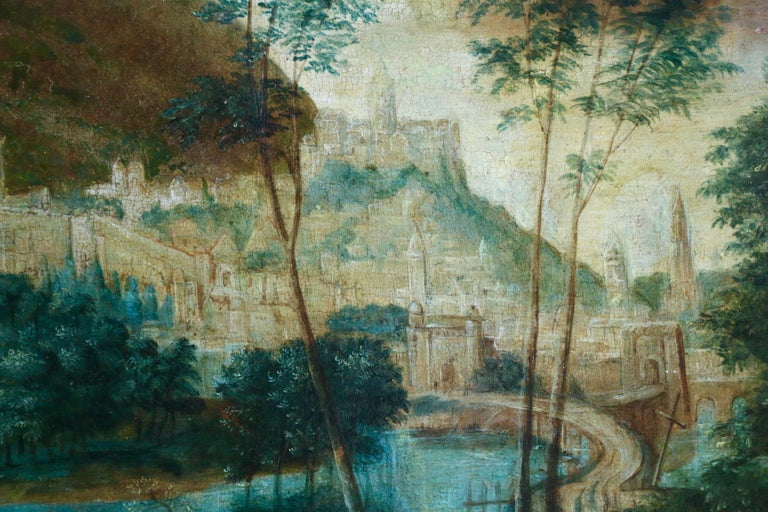 Pilgrims Journey - Figure in Landscape, 16th Century Netherlandish Old Master - Old Masters Painting by Unknown