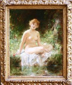 La Baigneuse - 19th Century Oil, Nude Figure by River Landscape by Leon Comerre
