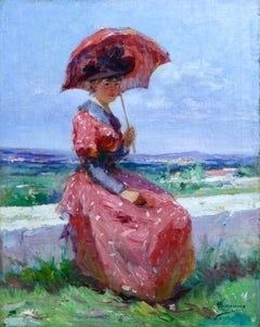 Elegant with Parasol - 19th Century Oil, Woman Figure in Landscape by Tanoux