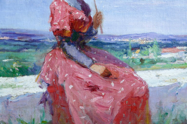 Elegant with Parasol - 19th Century Oil, Woman Figure in Landscape by Tanoux - Impressionist Painting by Adrien-Henri Tanoux