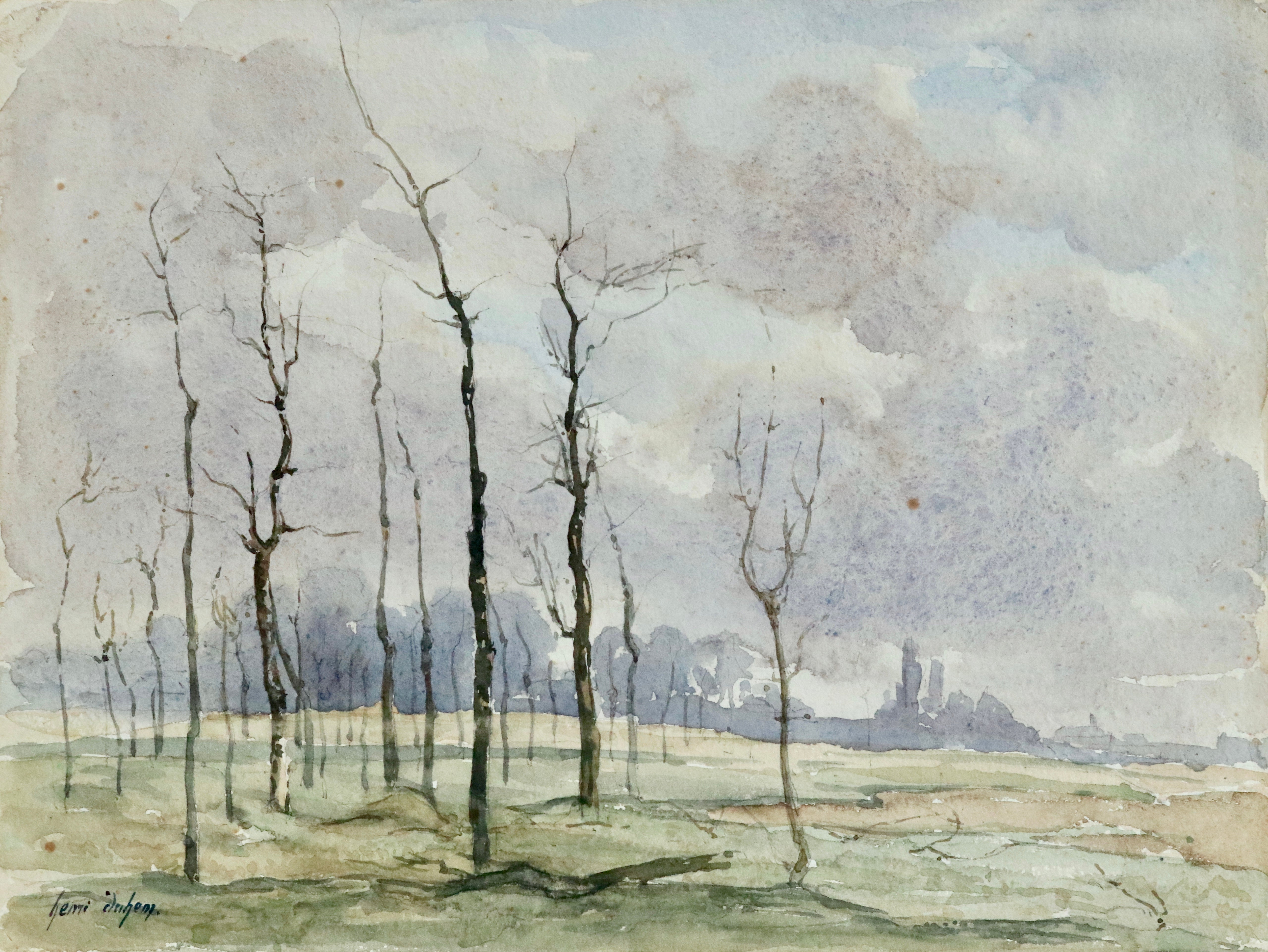Hiver - 19th Century Watercolour, Trees in Winter Landscape by Henri Duhem