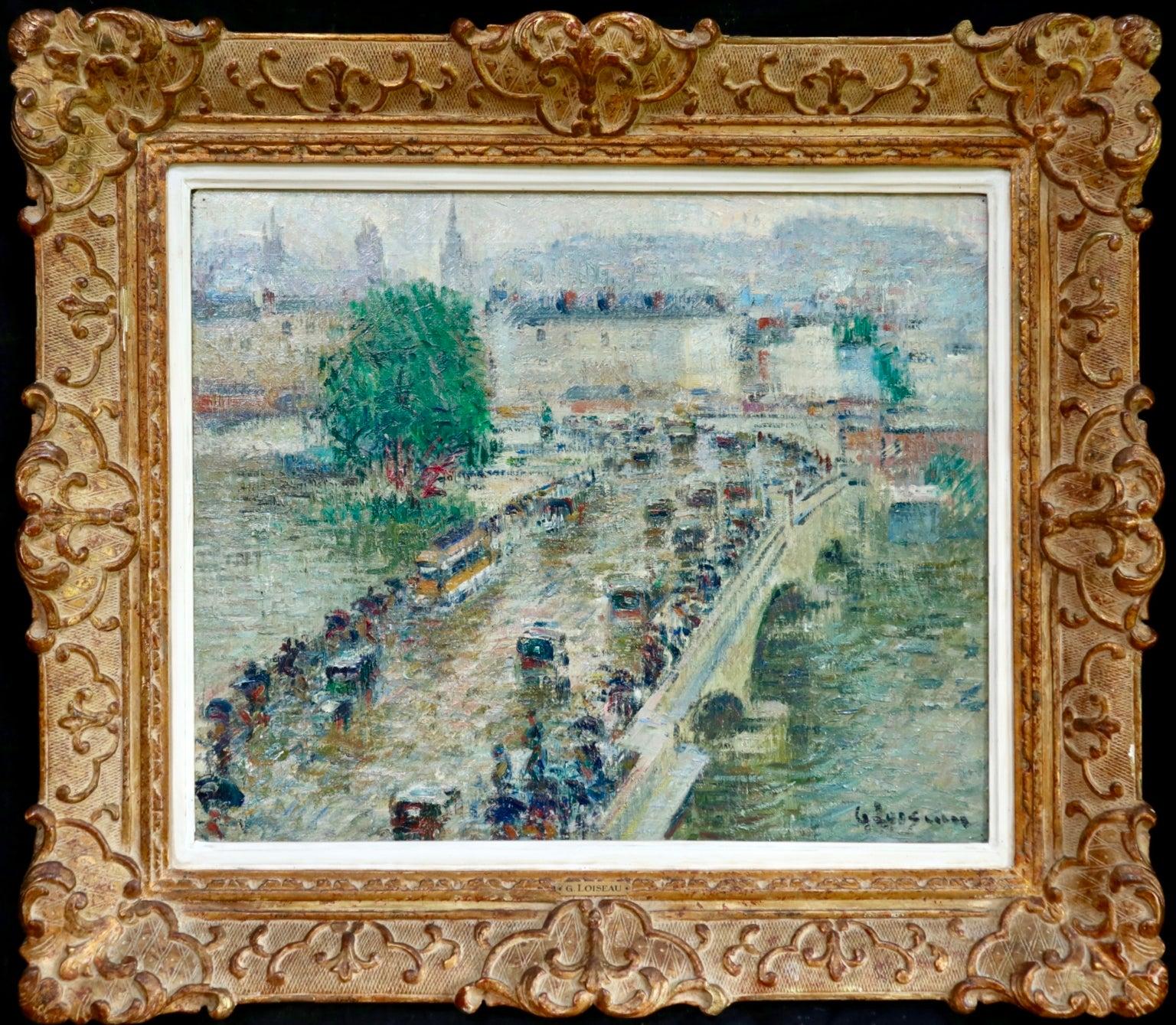 Le Pont Corneille a Rouen - Post Impressionist Oil, City Landscape by G Loiseau