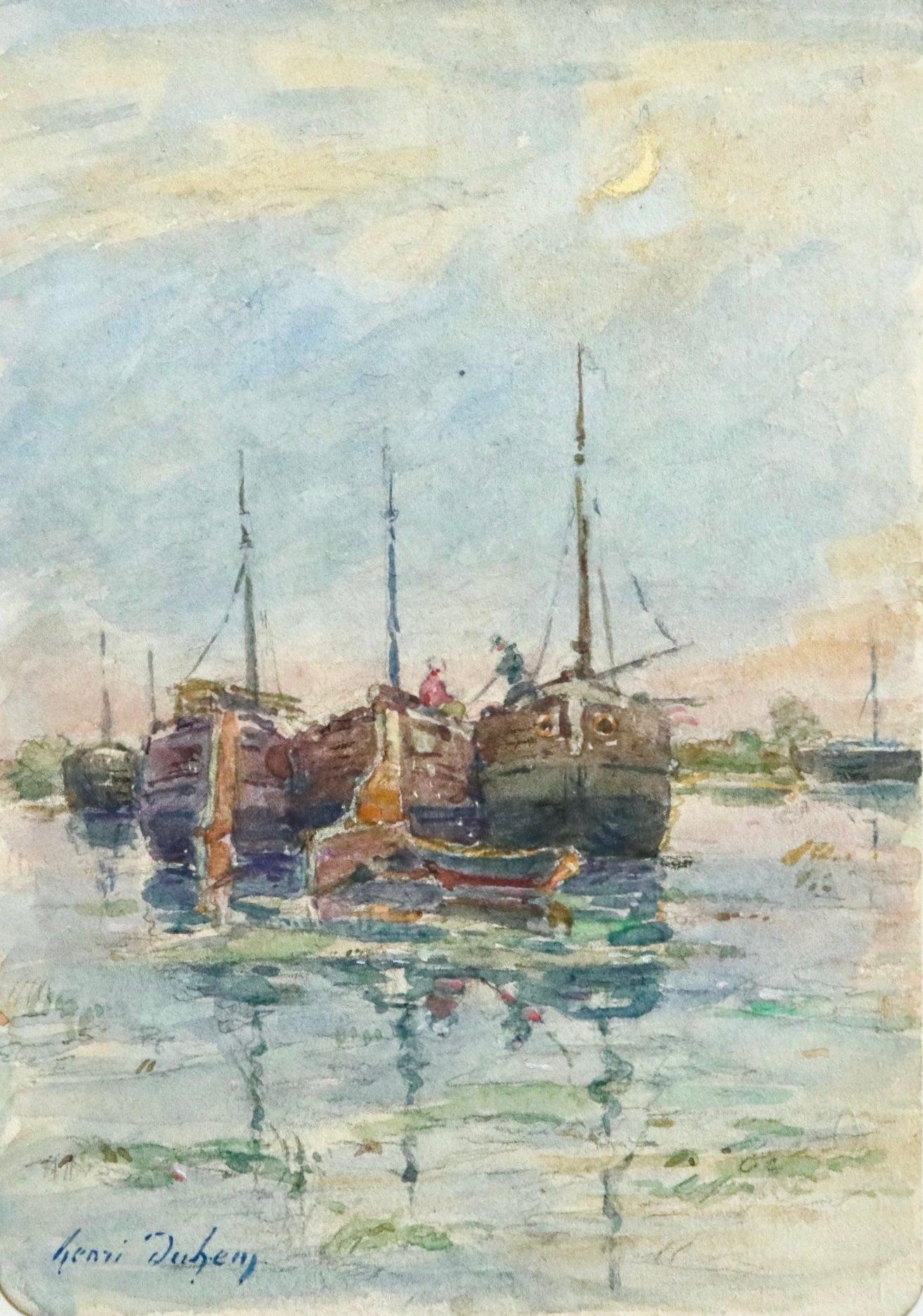 Sur les Bateaux - 19th Century Watercolor, Boats on River Landscape by H Duhem