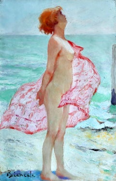 Nu sur la Plage - Post Impressionist Oil, Nude on Beach by Bernardo Biancale