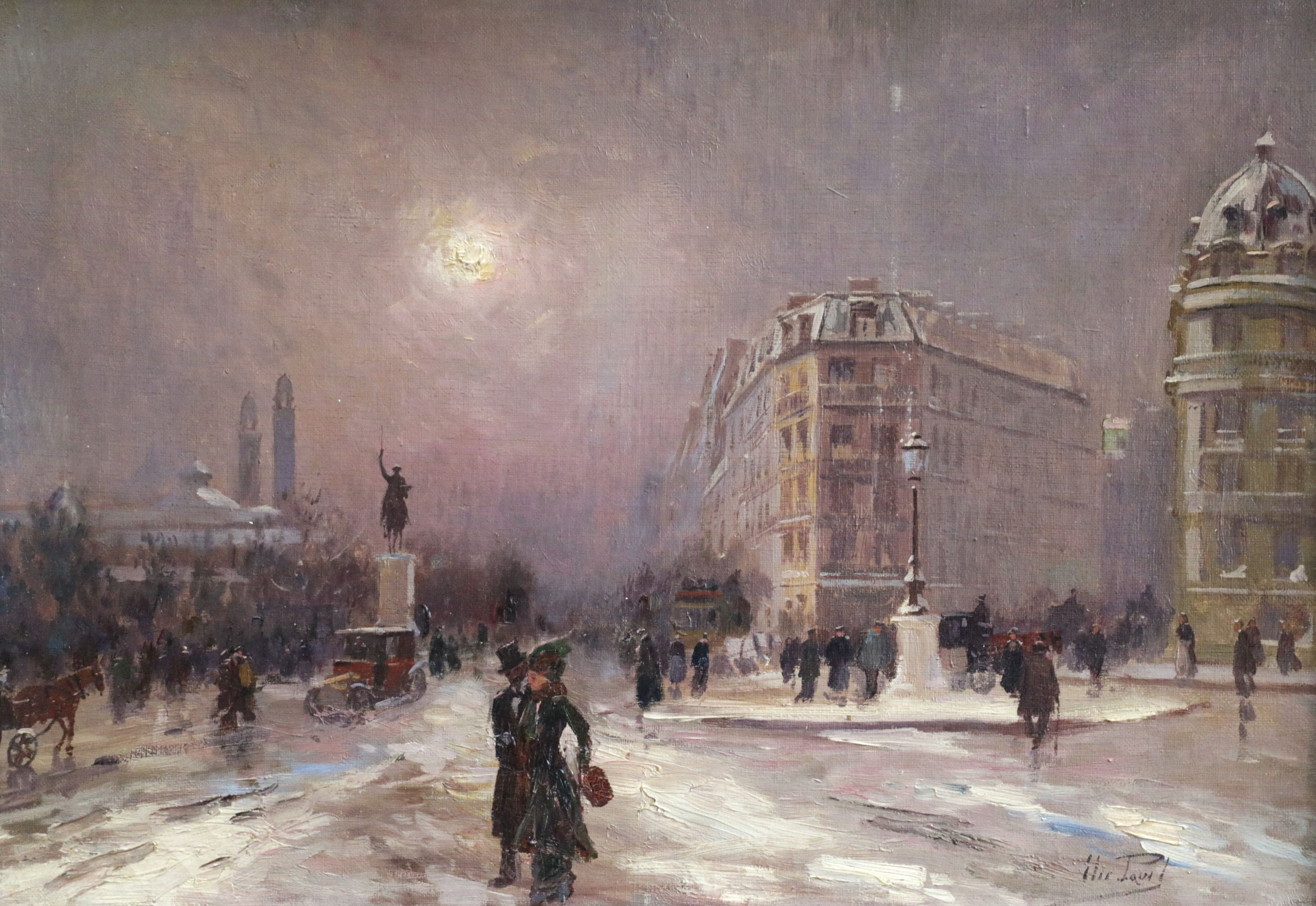 Winter in Paris - Impressionist Oil, Figures in Cityscape by Elie Anatole Pavil