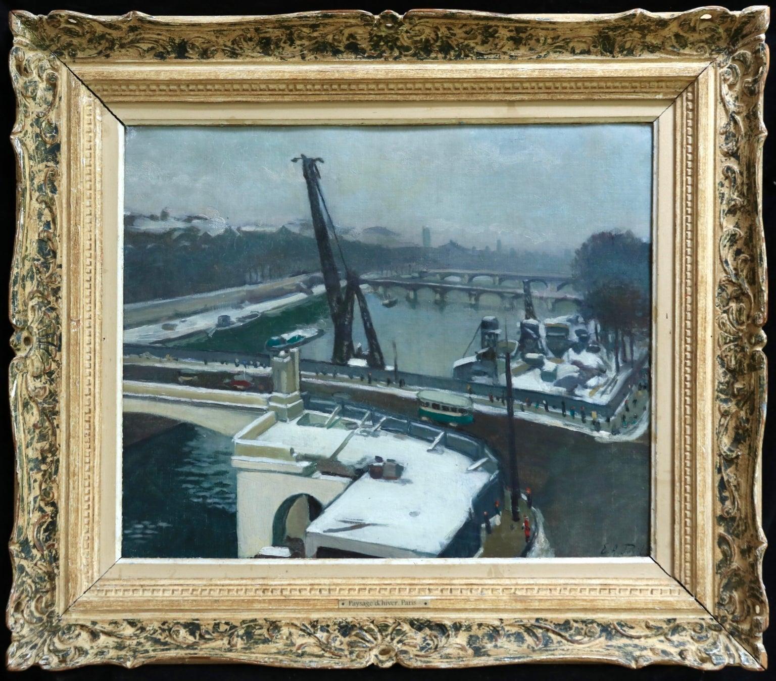 Paysage D'Hiver - Paris - Impressionist Oil, Winter Landscape by Elie A Pavil