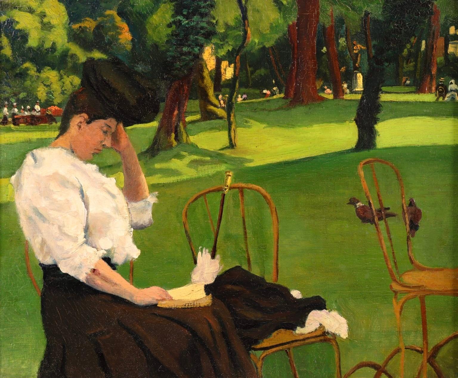 Elegante au Parc - French Impressionist School, Woman in Landscape
