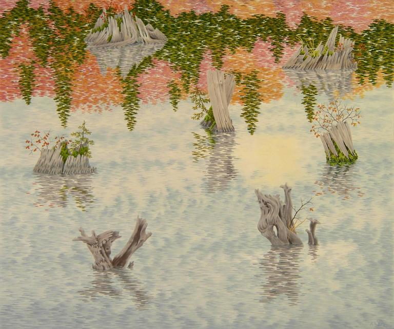 In Drowned Forest, 2014, a group of gray, gnarly tree stumps, some hosting green plants living within them, are in the midst of silver water spanning the entire picture plane. In the watery surface we see reflected the stumps, a partly cloudy