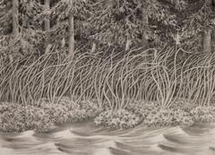 Alan Bray, Four Things in the Wind, Charcoal and conte landscape drawing, 2015