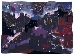Sandy Litchfield, Purple Haze, Gouche, collage, and inkjet print cityscape, 2011