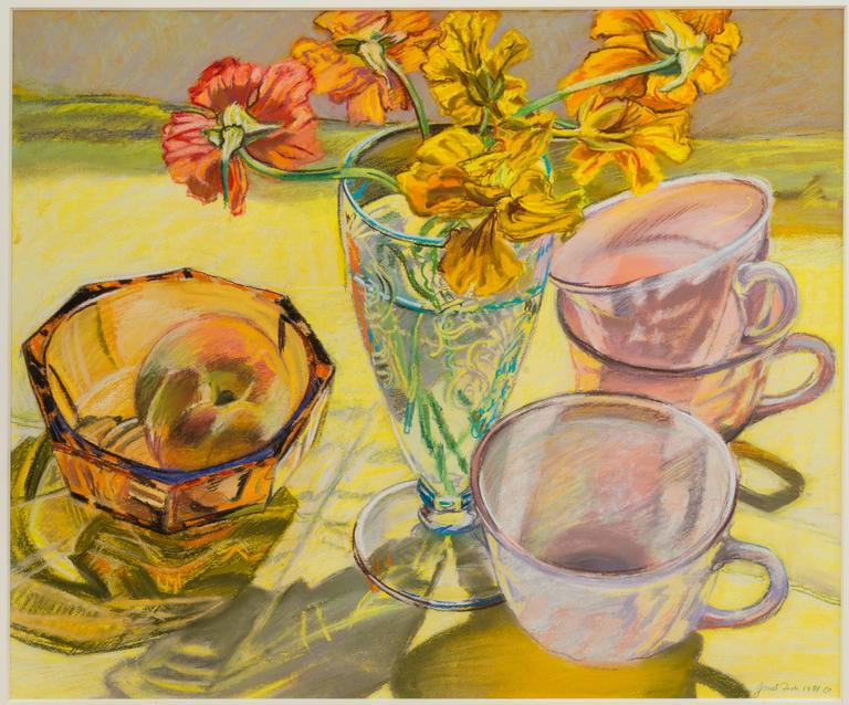 Janet Fish, Nasturtiums and Pink Cups, Oil pastel on paper still life, 1981