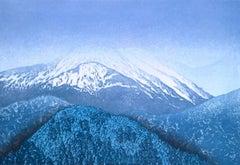 Blue, Ukiyo-e landscape woodcut print, 2014