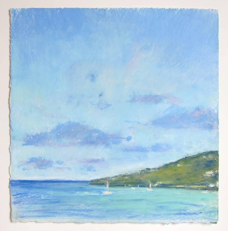 Artist Daisy Craddock creates, en plein air, the end of Tortolla, the largest island in the British Virgin Islands. She captures the shimmering effect of the light on the green island illuminated by the bluish Caribbean sunlight beneath gray-blue