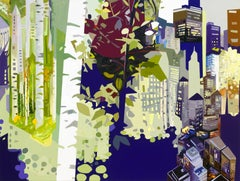 Sandy Litchfield, Over and Under Growth, Oil and acrylic cityscape painting