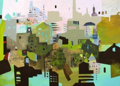 Sandy Litchfield, Solidity City, Oil and acrylic cityscape painting, 2013
