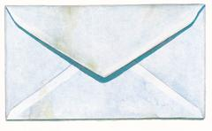 Margot Glass, Safety Envelope with Stain, Watercolor and pencil still life, 2016