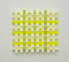 Lattice #9, neon acrylic on paper abstract optical wall sculpture, 2010
