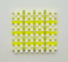 Joan Grubin, Lattice #9, Acrylic on paper abstract optical wall sculpture, 2010
