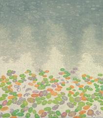 Straight Down Rain, Casein tempera on panel, landscape painting