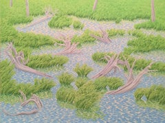 Alan Bray, Pond Margin, Casein on panel landscape painting, 2010