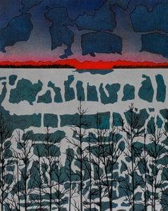 Keiji Shinohara, Symphony (TP), Ukiyo-e woodcut print landscape, 2002