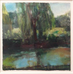 Daisy Craddock, Willow (1st Turquoise), Oil pastel landscape, 2010