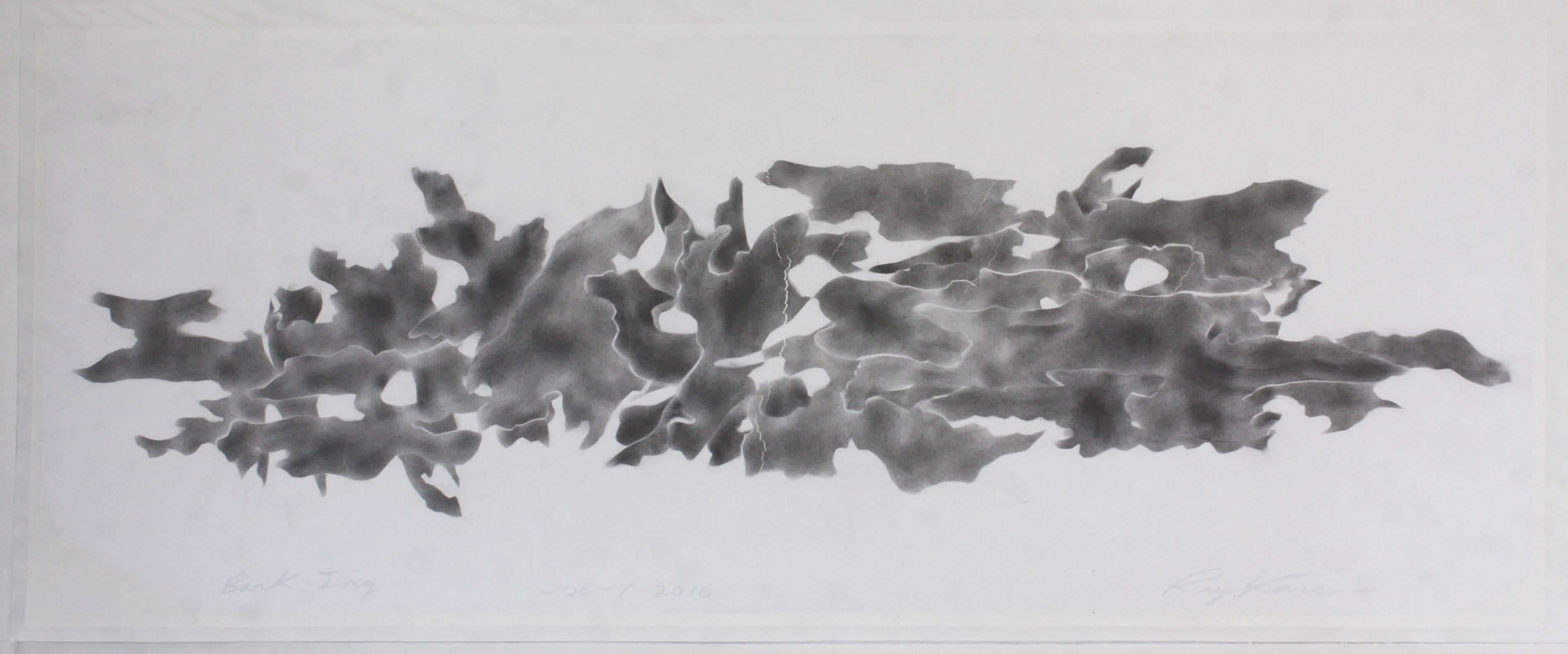 Ray Kass, Bark-Ing 06-07-2016, Abstract graphite drawing on paper, 2016