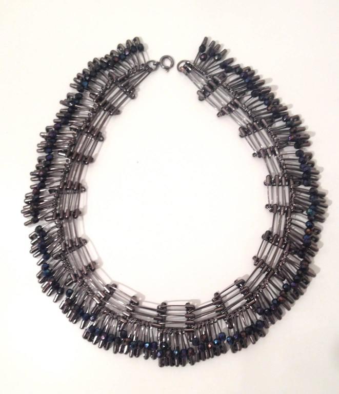 Tamiko Kawata, Morning Dew Necklace 1, Swarovski Peacock beads and safety pins