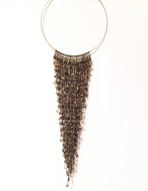 Tamiko Kawata, Waterfall, Black and brass safety pin and gold hoop necklace - Art by Tamiko Kawata