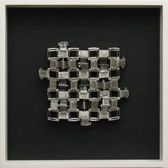 Tamiko Kawata, Small Pueblo #2, Abstract nickel and steel safety pin sculpture
