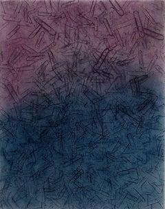 Clips C-2 Purple Blue, abstract versus realist conte crayon rubbing, 2010