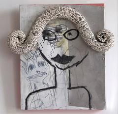 Melissa Stern, Curly Q, art brut-inspired mixed media on panel sculpture, 2015